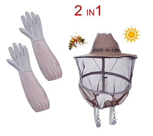 Sunflower 2 in 1 Beekeeper Protection hat and Veil with Gloves(Bee Round Veil Hood Veil/Smock with Round Veil/Goatskin and Canvas, ventilated Long Sanvas, ventilated Long Sleeves+ Sun Veil hat)