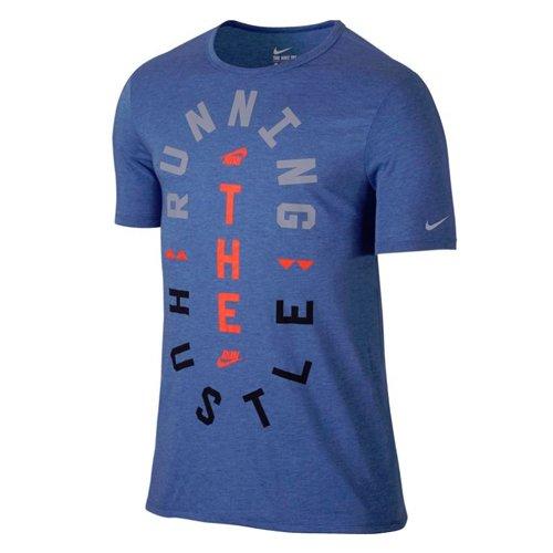 Nike Men's Run P Hustle-Maglietta a Maniche Corte, da Donna, Colore: mélange, Taglia: XL