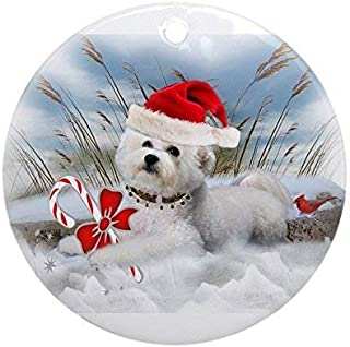 Yilooom Bichon Frise Christmas Day Flat Ornament -Christmas/Holiday/Love/Anniversary/Newlyweds/Keepsake - 3