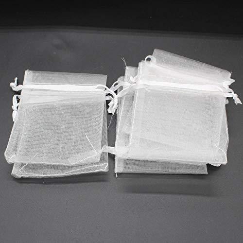 BGH Tasche 7 * 9 cm Garnbeutel Bündel Mund Organza Schmuck Schmuck Verpackungstasche transparente Mesh Garnbeutel, 100 Stück