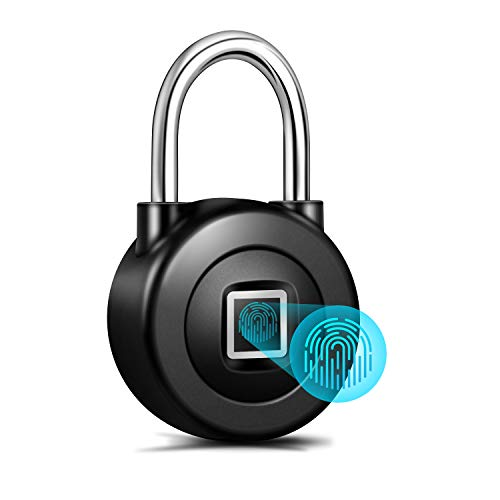 Smart Fingerprint Padlock,Bluetooth APP Control with Metal IP65 Waterproof for Gym,Door,School,Luggage Bags,Bike...