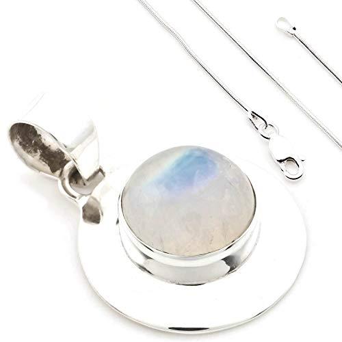 Colgante de plata 925 Piedra de luna + cadena de plata (Ø 1 mm) 430, Kettenlänge:60 cm