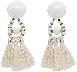 Flower Beads Tassel Drop & Dangle Earring - White