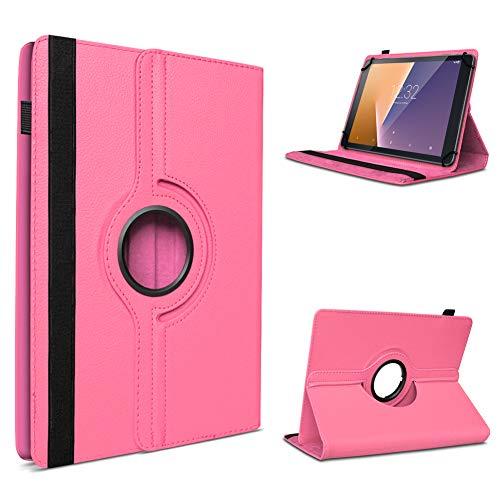 UC-Express Tablet Hülle kompatibel für Vodafone Tab Prime 6/7 Schutzhülle aus Kunstleder Tasche mit Standfunktion 360° drehbar Universal Cover Hülle, Farben:Pink