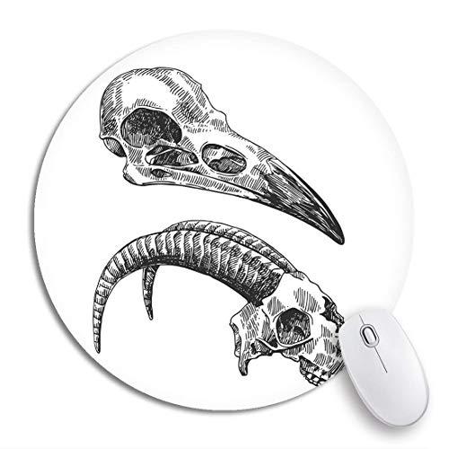 N\A Alfombrilla de ratón Redonda Dibujo de pájaro Cráneos de Animales Dibujo Tatuaje de Boho Anatomía Impresionante Base de Goma Antideslizante Alfombrilla de ratón Gaming Mousepad para comput
