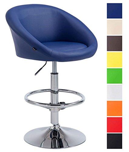 CLP Sgabello Imbottito Lounge Miami In Similpelle I Sgabello Poltroncina Con Schienale Girevole E Regolabile 62-82 CM, Colore:blu