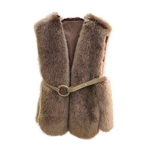 Womens Mouwloos Faux Bont Casual Gilet Vest Jas Top Warm Bovenwerk