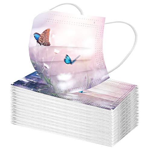 WZLL Bufanda Unisex Para Niños, Estampado Universal de Mariposas, Bonita Escuela Diaria para Niños, Máscara de Colores con Cepillo bucal de Algodón, Tejido Lavable y Reutilizable