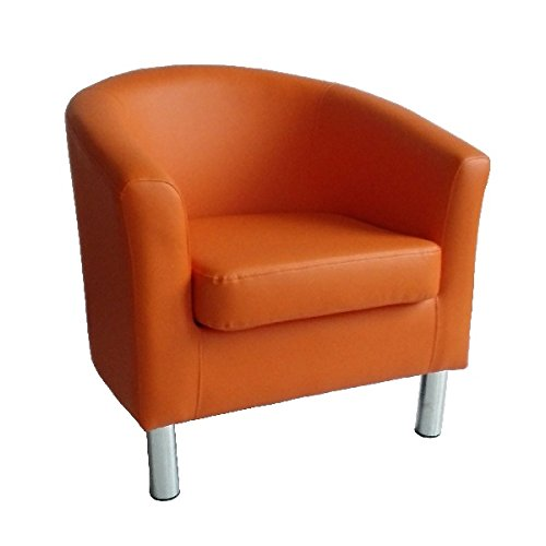 The Home Garden Store - Sillón de diseño de piel con respaldo bajo, para sala de estar, recepción, oficina, color naranja 66 x 68 x 72 cm
