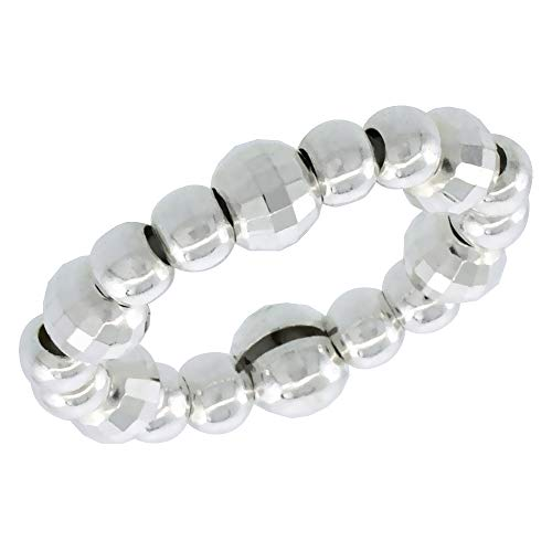 Sterling Silver Stretchable Beaded Toe Ring for Women 4mm Diamond Cut Beads fits Sizes 2-5