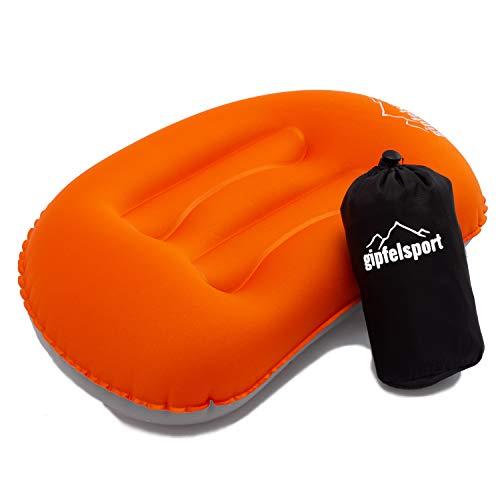 Campingkissen - Reisekissen I Aufblasbares Kissen für die Reise oder Camping I Orange I ohne Bezug