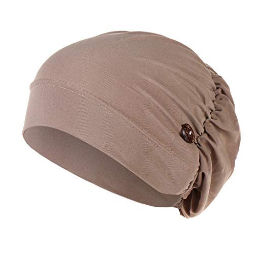 SADUORHAPPY Headbands Hat with Buttons Hat Cover Holder Wearing Protect Ears Head Wrap Hat Hair Bands Reducing Ear Pain Khaki