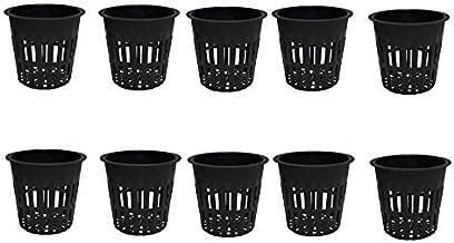 10 Pieces Black Plastic Garden Mesh Net Pot Hydroponic Basket Planting Nursery Grow Supplies, 10.8cm/4.25Inch-Black