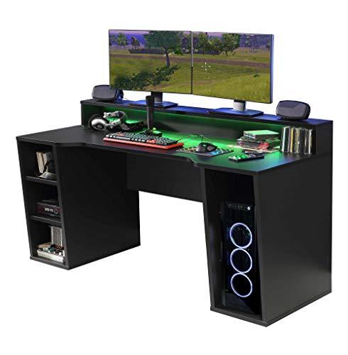 lifestyle4living Gamer-Schreibtisch in Schwarz, 160 x 72 cm | Computerschreibtisch mit Monitoraufsatz und Regal-Fächern