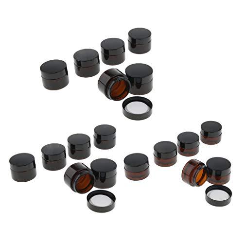 perfeclan Lotes de 18 Tarros de Vidrio para Maquillaje, Crema Facial, Gel, Bálsamo Labial, Ungüentos, Frascos
