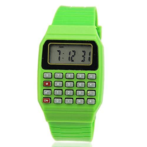 Leiouser Fad Kinder Silikon Datum Multifunktions Kinder Elektronischer Taschenrechner Armbanduhr