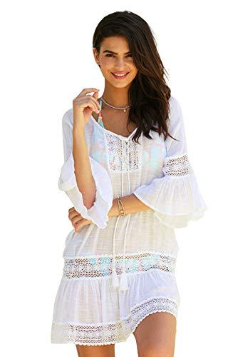 Vestido Corto Playa Mujer Tunica Verano Caftan Encaje Patchwork Kaftan Boho Chic Vestidos Manga Acampanada Ropa para Piscina Traje de Baño Camisolas y Pareos Beach Cover Up Kimono Etnico Mini Dress
