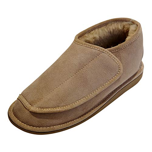 Hollert German Leather Fashion lamsvacht slippers - Christel heren dames vachtschoenen met klittenbandsluiting