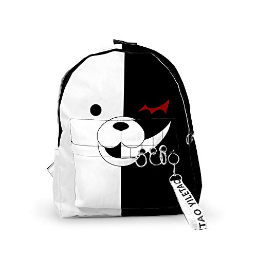 Mochila Danganronpa Bolsa de Oso Blanco y Negro Mochila de Cosplay de Anime Japonés Mochila Impermeable con Estampado de Anime 3D Mochila Escolar para Estudiantes para Niños Niñas