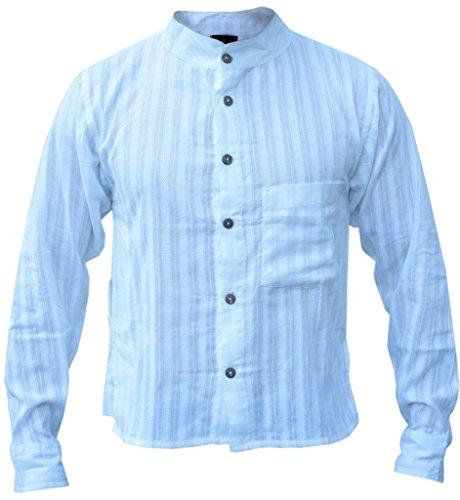 LITTLE KATHMANDU Hombres Verano Luz De Rayas Button Down Camisa de Abuelo Blanco Blanco Medium