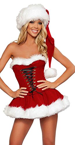 Haomei Woman Sexy Christmas Tee Dress Santa Outfit Miss Claus Costumes Xmas Party Fancy Dress Red