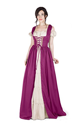 Boho Set Medieval Irish Costume Chemise and Over Dress (S/M, Orchid)