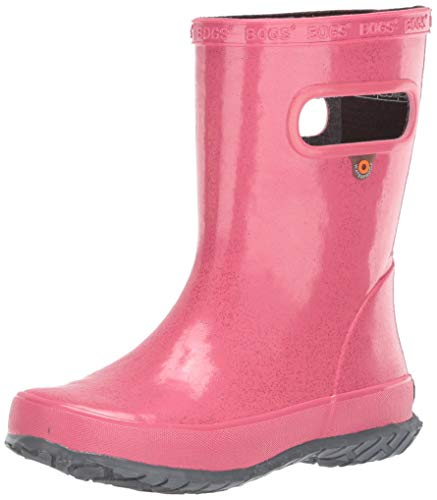 KomForme Kids Rain Boots, Waterproof Rubber Matte Boots with Reflective Stripes and Easy-on Handles Pink, 4 Big Kid