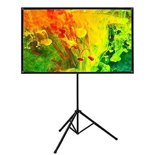 Famgizmo 16:9 80' Projektor Bildschirm Film leinwand | Tragbare Faltbare Stativ | Mit Stand | Für HeimkinoKino Indoor Outdoor | Matt White