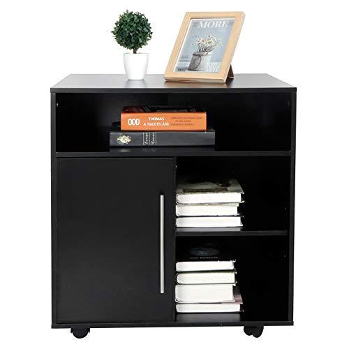 Soporte de Impresora de Madera Negra, 5 Estantes de Almacenamiento de Escritorio Con Ruedas Laterales Móviles, Cajones de Almacenamiento de Oficina Y Oficina En Casa.