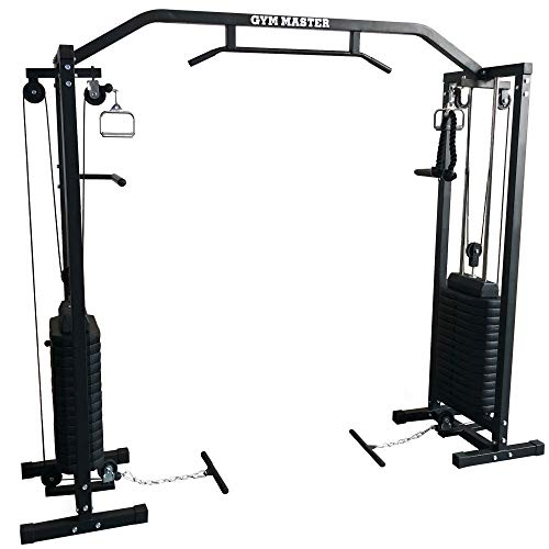 GYM MASTER 180kg Cable Crossover Machine With Upgraded Swivel Pulleys and Pull Up Chinning Bar - Black