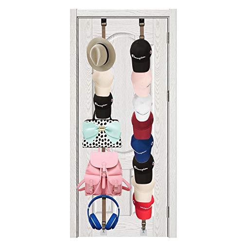JJDPARTS Hut-Organizer, 14 über der Tür Kappen-Organizer, hält bis zu 14 Kappen, multifunktionale Türmontierte Regale für Baseballkappen, Rucksack, Regenschirm, Handtuch, Kleidung und Schal
