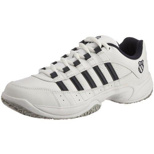 K-Swiss Outshine Omni Eu Zapatillas de tenis de cuero para hombre, Blanco (White/Navy/Light Grey), 7.5 UK (41.5 EU)
