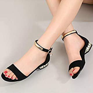 Gladiator Shoes Woman Sandals Flat Heel Sandals Women with Heels Summer Shoes Ankle Strap Pearl Sandalias Feminina(Grey,11)