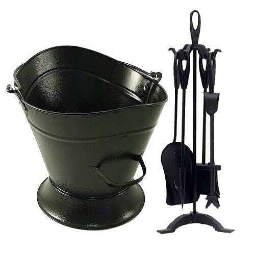 FunkyBuys® (Set of 2 Fireplace Fireside Companion Set Black Waterloo Bucket & 5pc Warwick Companion Set Ornate