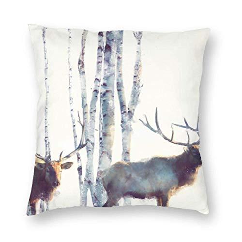 WH-CLA Pillow Cover Pintura De Acuarela Simple Nórdica Elk Deer Forest Animals 45X45Cm Fundas De Almohada Coche Suave Sofá De Oficina Decoración del Hogar Fundas De Cojines para Sofá Fun