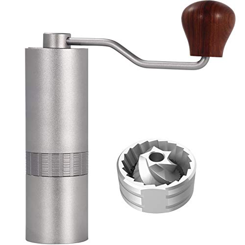 Hurmirs F12 Manual Coffee Grinder Capacity 30g with CNC Milled Stainless Steel Conical Burr, Dual High-precision Japanese Bearings, Numerical Internal Adjustable Setting, Portable Mill Faster Grinding Efficiency Espresso to Coarse for Office, Home, Travel, Camping