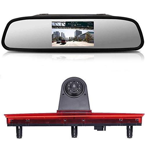 Top Mount Bremsleuchte Kamera Bremslicht Rückfahrkamera +4.3 Zoll Rückspiegel Monitor Einparkkamera Rückfahrsystem Ersatz für VW T5 Bus Transporter Caravelle 2003-2015 Bj