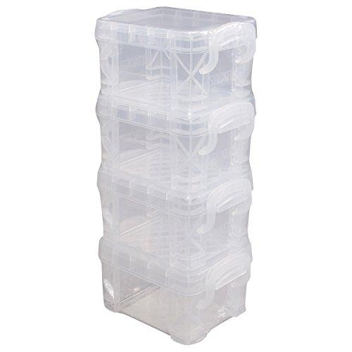 """Advantus Storage Studios Super Stacker Pixie Boxes 4/Pkg, 2""""X2.5""""X3.4"""" Clear"""