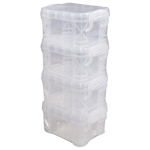 Advantus Storage Studios Super Stacker Pixie Boxes 4/Pkg, 2X2.5X3.4 Clear