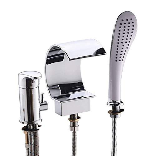 ZJN-JN Ducha de Mano de instalación de bañera con 3 Orificios de la bañera Cascada Grifo de la Ducha con Ducha de Mano, de fácil instalación (Color: Plata) Sistemas de Ducha