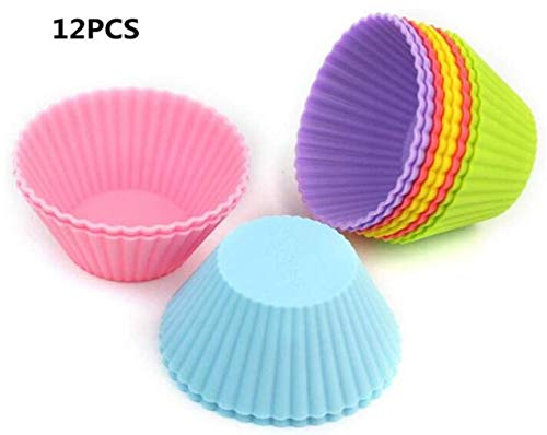 Reusable Silicone Baking Cases Muffin Cake Molds Random Color 12PCS Sunluxy Mall Cupcake Molds