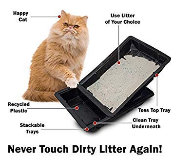Kitty Lounge Disposable Litter Tray, Black, 50-Pack- Argee RG606/50