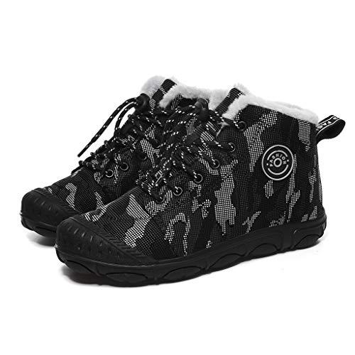 WHSHINE Kinder Jungen Winterschuhe Schneeschuhe Warme, mit Fell gefütterte Winterschuhe, wasserdichte, rutschfeste High-Top-Trainer-Camouflage-Schuhe Stiefel für Unisex-Kinder