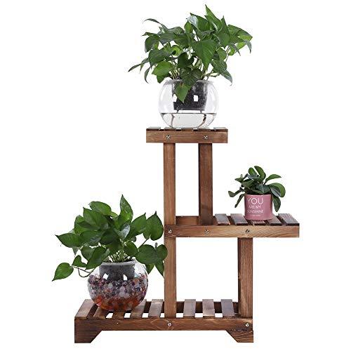 Fioriera in legno a 3 livelli, espositore per fiori per piante, in legno, per interni ed esterni, per piante, per casa, giardino, balcone, ufficio