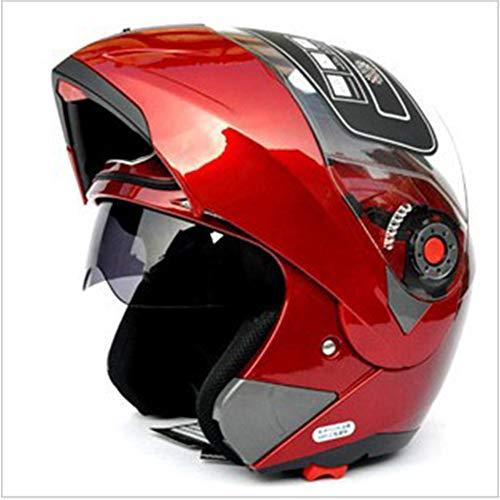 Casco integral de cara unisex modular abatible frontal ABS casco traje de bicicleta de carretera casco de moto extra-large rosso