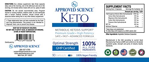 Approved Science® Keto: Pure Exogenous 4 Ketone Salts (Calcium, Sodium, Magnesium and Potassium) and MCT Oil to Boost Ketosis. 6 Bottles 2