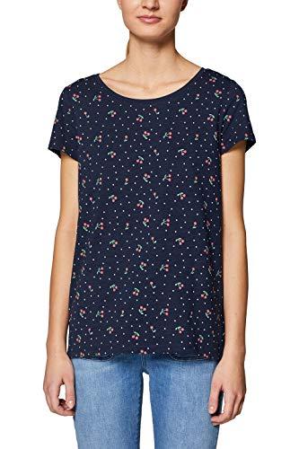 edc by ESPRIT Damen 039CC1K048 T-Shirt, Blau (Navy 400), Small (Herstellergröße: S)
