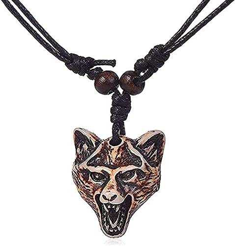 NC110 Necklace Retro Wolf Head Tooth Sculpture Pendant Personality Rope Chain Cool Puadjustable Jewelry Cool New Gift for Women Men Gift