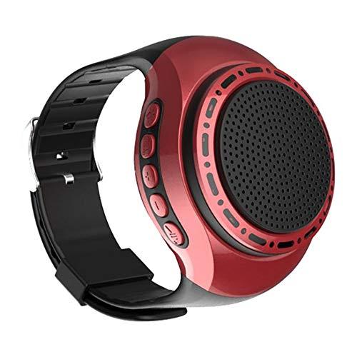 Q&N Sport Portatile indossabile Orologio con Altoparlante Bluetooth con Lettore MP3 Radio FM Selfie Tempo di Attesa Ultra Lungo Anti-Perso per la Corsa Escursionismo Arrampicata,Rosso