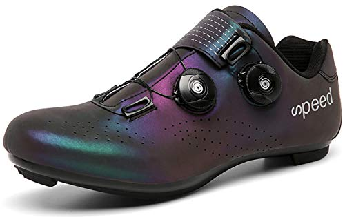 Cycling-Shoes Mens Road Bike Mountain Bike SPD/SPD-SL Compatible Double Ratchet MTB Cleat Indoor Exercise Biking Breathable Stable Comfortable Shoes Rider Riding Sneaker(Multicolor,8.5)